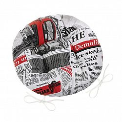 Bellatex Sedák Ema kulatý prošívaný Noviny červená, 40 cm