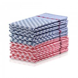 DecoKing Kuchyňská utěrka Louie modrá, červená, 50 x 70 cm, sada 10 ks