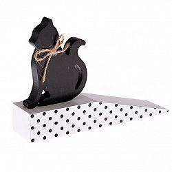Dřevěná dveřní zarážka s kočkou, černý puntík, 17,5 x 10 x 4 cm