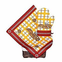 Forbyt Kuchyňská sada utěrka a chňapka Pečivo bordová, 40 x 70 cm cm, 17 x 27 cm