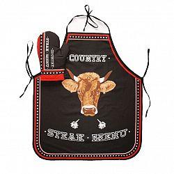 Forbyt Kuchyňská zástěra a chňapka Steak Menu černá, 63 x 75 cm, 18 x 28 cm
