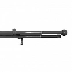 Gardinia Souprava záclonová dvojitá roztažitelná KOULE 16/19 mm, 120 - 230 cm, černý nikl, bez kroužků, 120 - 230 cm