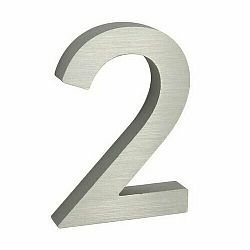 """Hliníkové číslo 2 v """"3D"""" provedení s broušeným povrchem. RICHTER RN.100LV.2.AL.3D"""