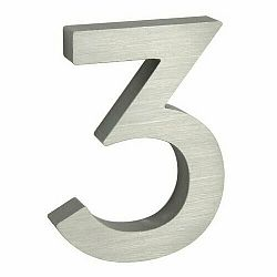 """Hliníkové číslo 3 v """"3D"""" provedení s broušeným povrchem. RICHTER RN.100LV.3.AL.3D"""