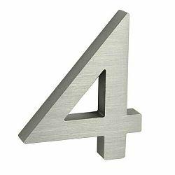 """Hliníkové číslo 4 v """"3D"""" provedení s broušeným povrchem. RICHTER RN.100LV.4.AL.3D"""