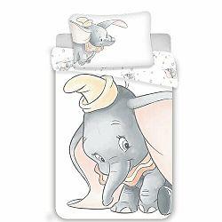 Jerry Fabrics Dětské bavlněné povlečení do postýlky Dumbo grey baby, 100 x 135 cm, 40 x 60 cm