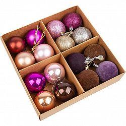 Sada vánočních ozdob Melide fialová, 16 ks, pr. 4 cm